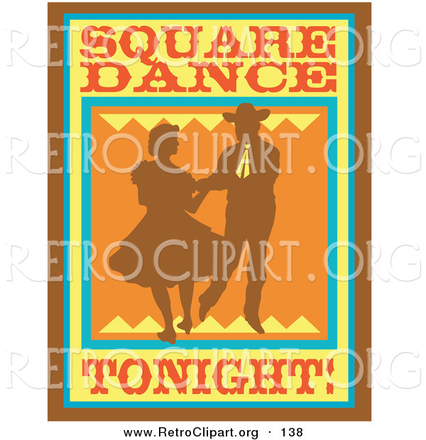 Retro Clipart of an Old Fashioned Sign Silhouetted Cowboy Square Dancing with a Woman