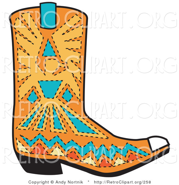 Retro Clipart of an Orange Aztec Style Cowboy Boot Design with Blue and Yellow Accents Around a Bird