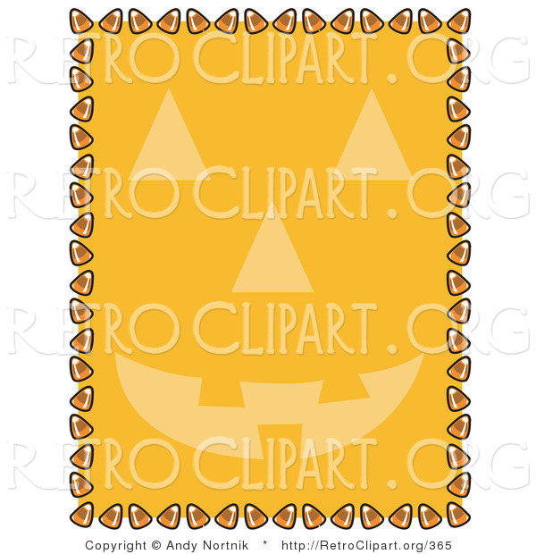 Retro Clipart of an Orange Background with a Smiling Jack O Lantern Face and a Border of Candy Corn