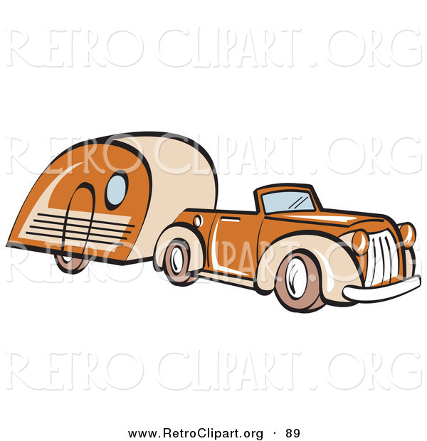 Retro Clipart of an Orange Convertible Car Pulling a Trailer and Driving Right