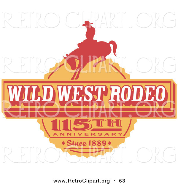 Retro Clipart of an Orange Vintage Wild West Rodeo Advertisement with a Cowboy Riding a Bucking Bronco