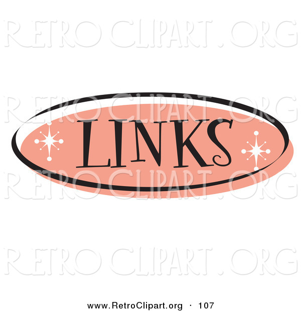 Retro Clipart of an Oval of Pink Links Website Button That Could Link to a References or Suggested Sites Page on a Site