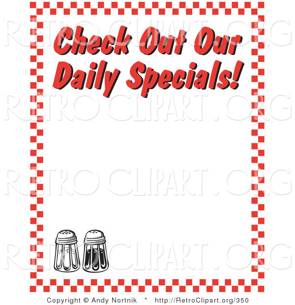 "Retro Clipart of Black and White Salt and Pepper Shakers and Text Reading ""Check out Our Daily Specials!"" Borderd by Red Checkers"