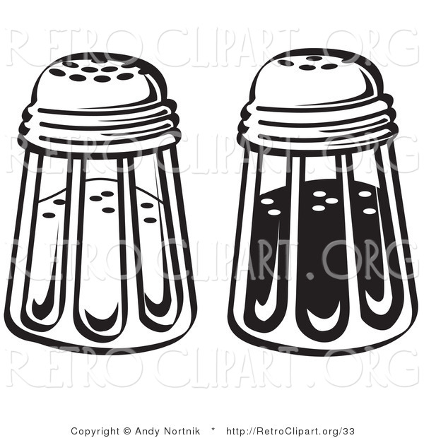 Retro Clipart of Black and White Salt and Pepper Shakers in a Diner