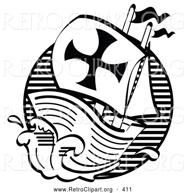 Retro Clipart of the Black and White Mayflower Ship Transporting Pilgrims to America