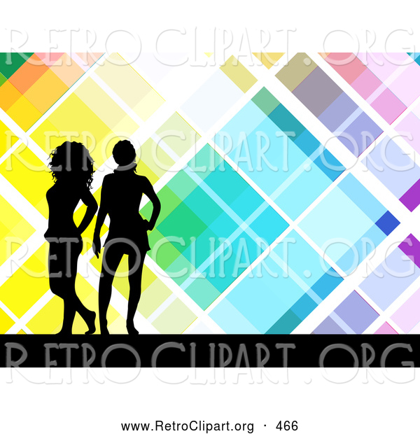 Retro Clipart of Two Black Silhouetted Women Standing over a Retro Colorful Tile Background with White Lines