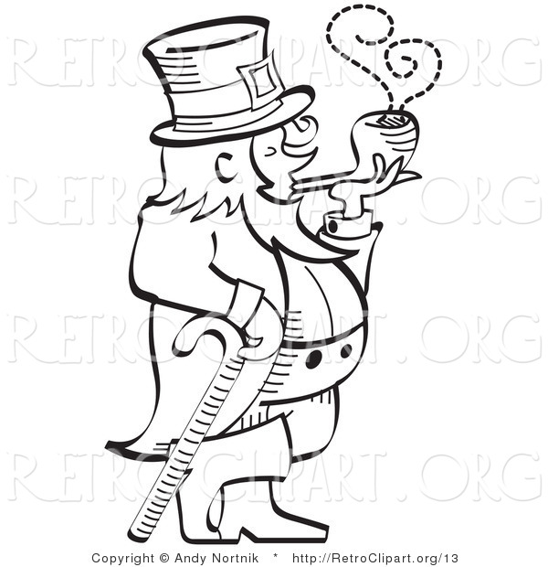 Vector Retro Clipart of a Black and White Leprechaun Smoking a Pipe