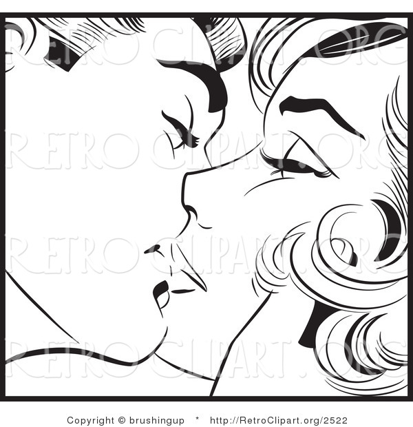 Vector Retro Clipart of a Black and White Pop Art Man and Woman Kissing