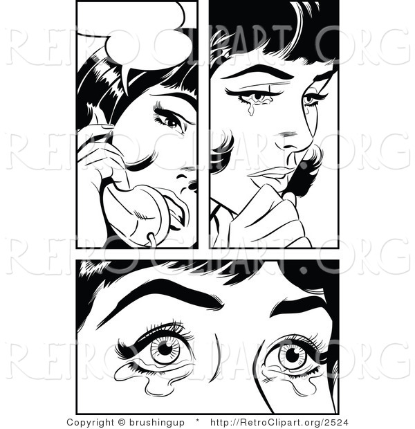 Vector Retro Clipart of a Black and White Pop Art Woman Crying Thinking and Talking on the Phone
