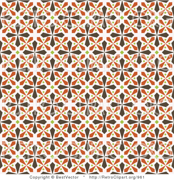 Vector Retro Clipart of a Seamless Brown and Orange Kaleidoscope Cross Background