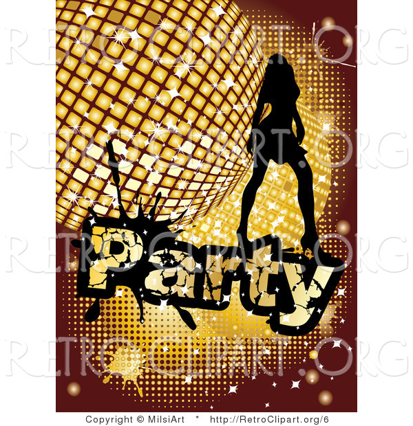 Vector Retro Clipart of a Silhouetted Party Girl and Disco Ball