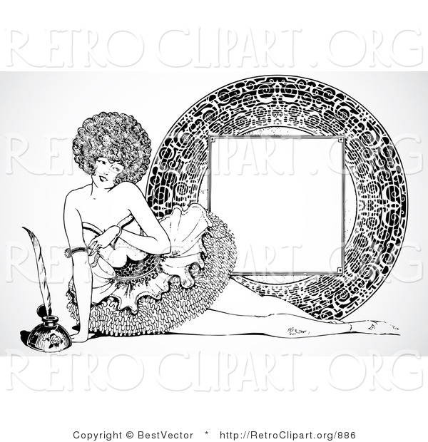 Vector Retro Clipart of a Vintage Burlesque Pinup Woman and Frame
