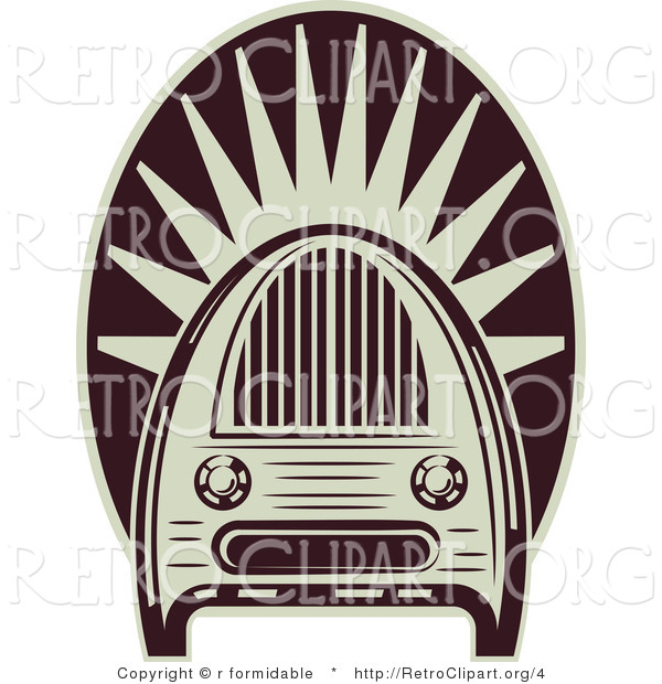 Vector Retro Clipart of an Old Fashioned Radio