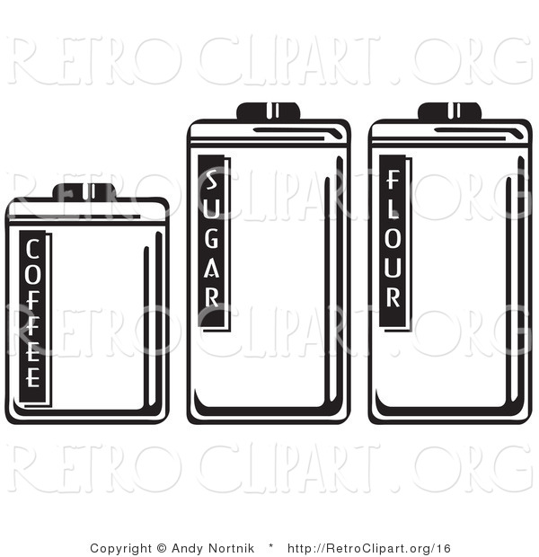 Vector Retro Clipart of Three Storage Canisters in a Kitchen, Labeled Coffee, Sugar and Flour