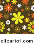 Clipart of a Funky Orange, Yellow and Brown Retro Floral Background by KJ Pargeter