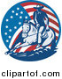 Clipart of a Retro Cowboy and Horse in an American Flag Circle by Patrimonio