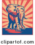 Clipart of a Retro Elephant over Beige and Red Rays by Patrimonio