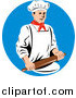 Clipart of a Retro Male Chef Using a Rolling Pin over a Blue Circle by Patrimonio