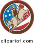 Clipart of a Retro Rodeo Cowboy Riding a Bull in an American Flag Circle by Patrimonio