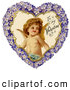 Clipart of a Retro Valentine of Cupid Smiling Inside a Purple Floral Forget Me Not Heart, Circa 1890 by OldPixels