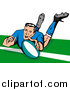 Clipart of a Rugby Football Player by Patrimonio