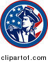 Clipart of an American Revolutionary War Soldier over a Retro Flag Circle by Patrimonio