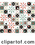 Retro Clipart of a Background of Colorful Retro Patchwork Tiles with Flowers, Diamonds and Circle Patterns by Steve Klinkel