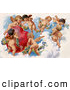 Retro Clipart of a Beautiful Painting of a Group of Playful Cherubs in the Clouds of Heaven, Decorating a Red Heart in Floral Garlands, Circa 1909 by OldPixels