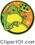 Retro Clipart of a Big Fat Green Alien with a Yellow Belly and Yellow Suction Fingers, Licking His Lips and Standing in Front of a Planet by Andy Nortnik