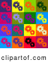 Retro Clipart of a Colorful Background of Red, Purple, Orange, Green, Blue, Black and White Flowers in Different Colored Squares by KJ Pargeter