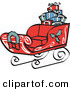 Retro Clipart of a Festive Red Sleigh Decorated with Holly and a Wreath, Carrying Presents by Andy Nortnik
