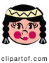Retro Clipart of a Friendly Native American Indian Girl, on White by Andy Nortnik