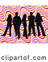 Retro Clipart of a Group of 5 Black Silhouetted People Standing over a Colorful Wavy Retro Background by KJ Pargeter