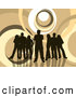 Retro Clipart of a Group of 5 Dark Brown Silhouetted People Standing over a Retro Brown and White Background with Circles by KJ Pargeter