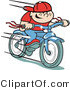 Retro Clipart of a Happy Boy Riding a Brand New Blue Bike Downhill by Andy Nortnik