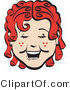 Retro Clipart of a Happy Curly Red Haired Girl with a Few Freckles, Laughing by Andy Nortnik