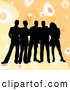 Retro Clipart of a Happy Group of Five Black Silhouetted Friends Standing over a Retro Orange Background with Circles by KJ Pargeter
