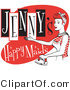 Retro Clipart of a Happy Red Headed Woman in an Apron, Ironing Clothes on a Vintage Jenny's Happy Maids Advertisement by Andy Nortnik
