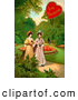 Retro Clipart of a Old Fashioned Vintage Valentine of Two Ladies Strolling Through a Garden and Talking About a Man in the Background by OldPixels