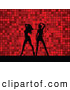Retro Clipart of a Pair of Black Silhouetted Women Dancing over a Retro Red Dotted Background by KJ Pargeter