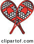 Retro Clipart of a Pair of Red Snowshoes Crossed on White by Andy Nortnik