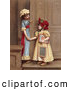 Retro Clipart of a Pair of Two Little Sisters at a Doorway, Smiling and Holding Hands, Circa 1880 by OldPixels