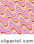 Retro Clipart of a Pretty Background of Wavy Orange, Purple, Red, Yellow and White Lines by KJ Pargeter