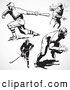 Retro Clipart of a Retro Black and White Hockey and Baseball Players by BestVector