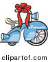 Retro Clipart of a Retro Brand New Blue Racer Tricycle Bike with a Red Ribbon in the Handlebars on White by Andy Nortnik
