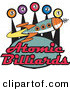 Retro Clipart of a Retro Space Rocket Flying past Pool Balls on a Vintage Atomic Billiards Sign by Andy Nortnik