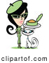 Retro Clipart of a Retro Woman in Green, Feeding Canned Food to Her Cat by Andy Nortnik