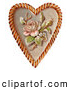 Retro Clipart of a Rose and Blossoms on a Heart, Circa 1890, on White by OldPixels