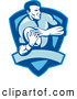 Retro Clipart of a Rugby Football Player Shield in Blue by Patrimonio