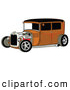 Retro Clipart of a Rust Brown Vintage Rat Rod Car with a Black Roof, Red Accents and Chrome Wheels on White by Andy Nortnik